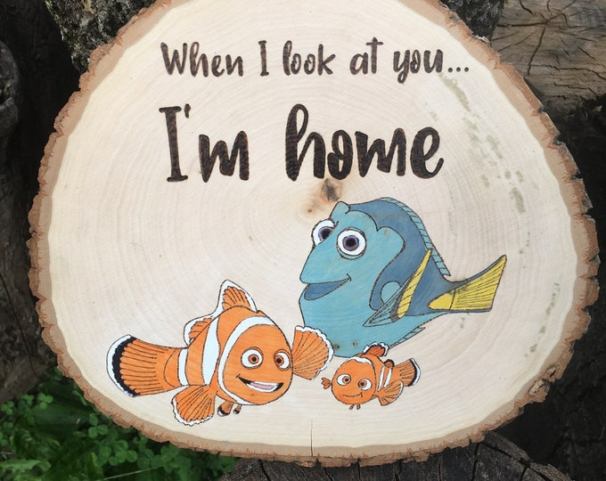 Woodburned and water colored wood slice - Dory and Nemo
