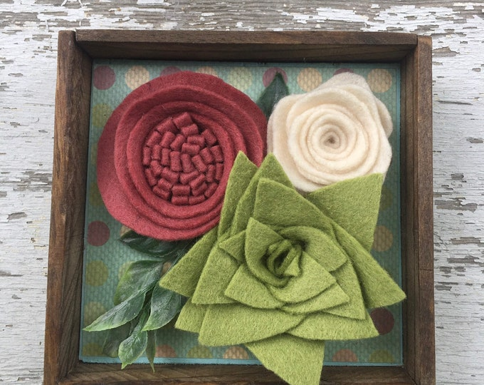 Shelf sitter or tiered tray farmhouse distressed sign - roses and succulent