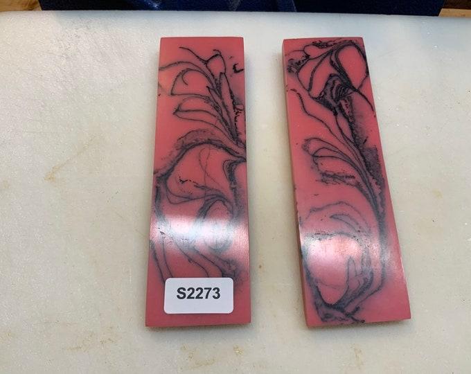 "Knife Making Resin Knife Scales Bubblegum Black Swirl 1.5x5x1/4"""