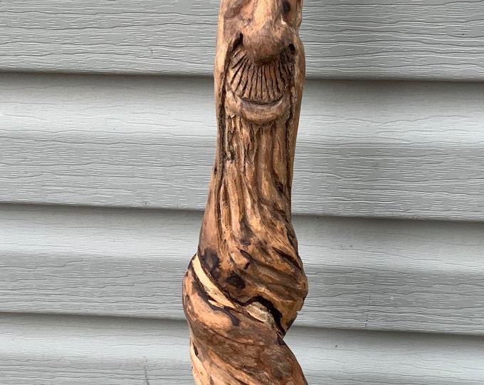 Hand Carved Tree Spirit Gnome Walking Stick Staff