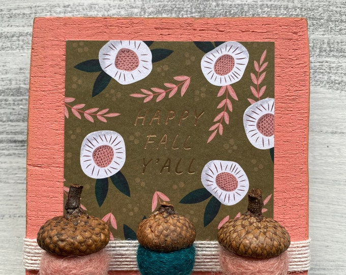 Shelf sitter or tiered tray farmhouse distressed block - Happy fall y'all
