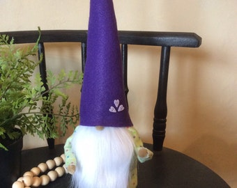 Sitting Gnome - purple with polka dots