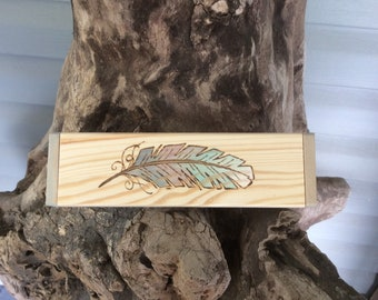 Feather wood burned and water colored wooden box