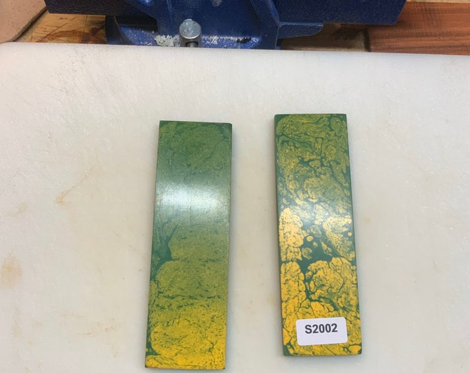 """Knife Making Resin Knife Scales Green and Yellow Swirl 1.5x5x1/4"""""""