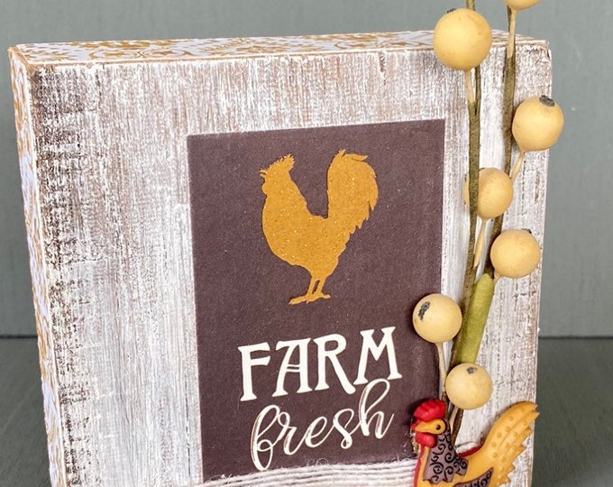 Shelf sitter or tiered tray farmhouse distressed block - Farm Fresh rooster