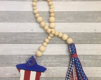 Bead Garland - wood bead garland - patriotic garland - tiered tray garland