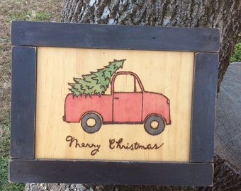 Christmas vintage truck woodburned and water colored wood slice