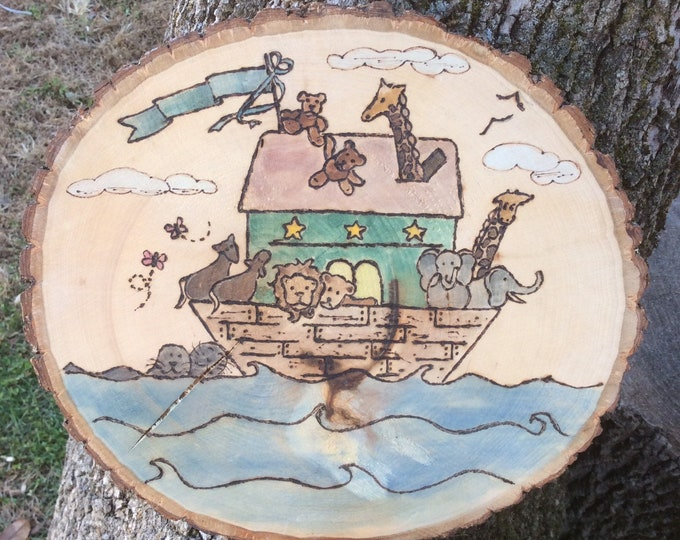 Noah's ark woodburned and water colored wood slice