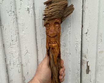 Pine Knot Carving Tree Spirit Carving Gnome Wood Spirit