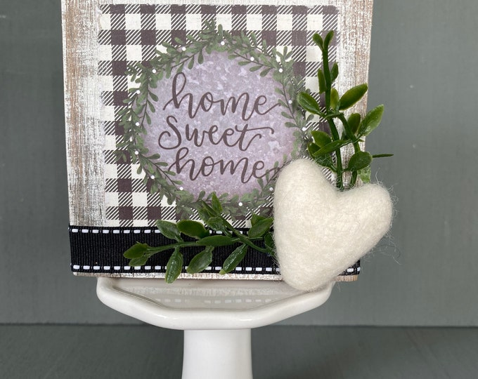 Shelf sitter or tiered tray farmhouse distressed block - Home sweet home