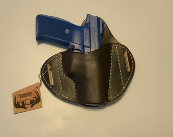 OWB Glock C, M&P C, sr 9 C, p 229 C, Handmade Herman Oak leather holster compact pistol holster