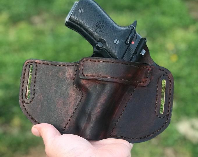 OWB Handmade leather holster small, medium, or large pistol holster