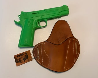 "OWB 1911 3"" Wetformed Handmade Herman Oak leather holster 1911 pistol holster 1911 3"""