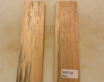 Knife Making Spalted Beetle Kill Wood Knife Scales  1 1/2 x5 5/8 x 1/4""