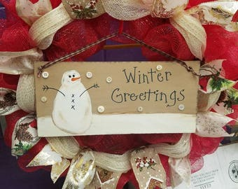 Winter greetings wreath! Limited quantities available!! Winter wreath, holiday wreath, door decor