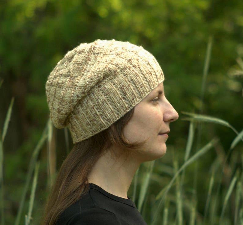 663cec6a917 Slouch hat Women s beige hat Knit slouchy beanie Wool
