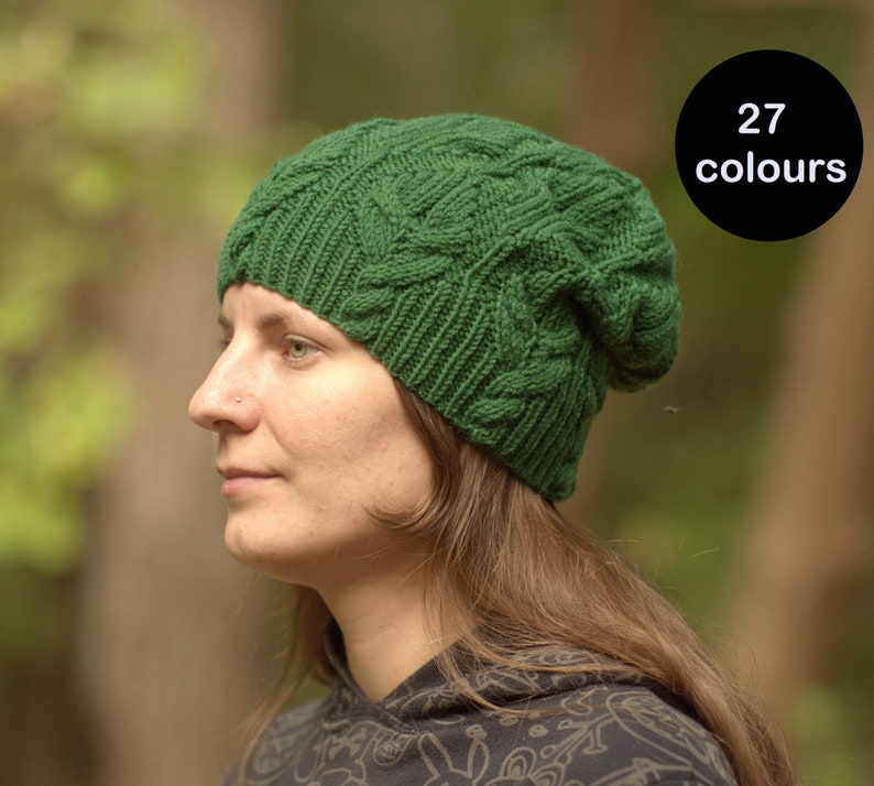 f3b04076241 Slouchy hat Hand knit beanie Wool cable beanie Customized hat Choose colour  bea... Slouchy hat Hand knit beanie Wool cable beanie Customized hat Choose  ...