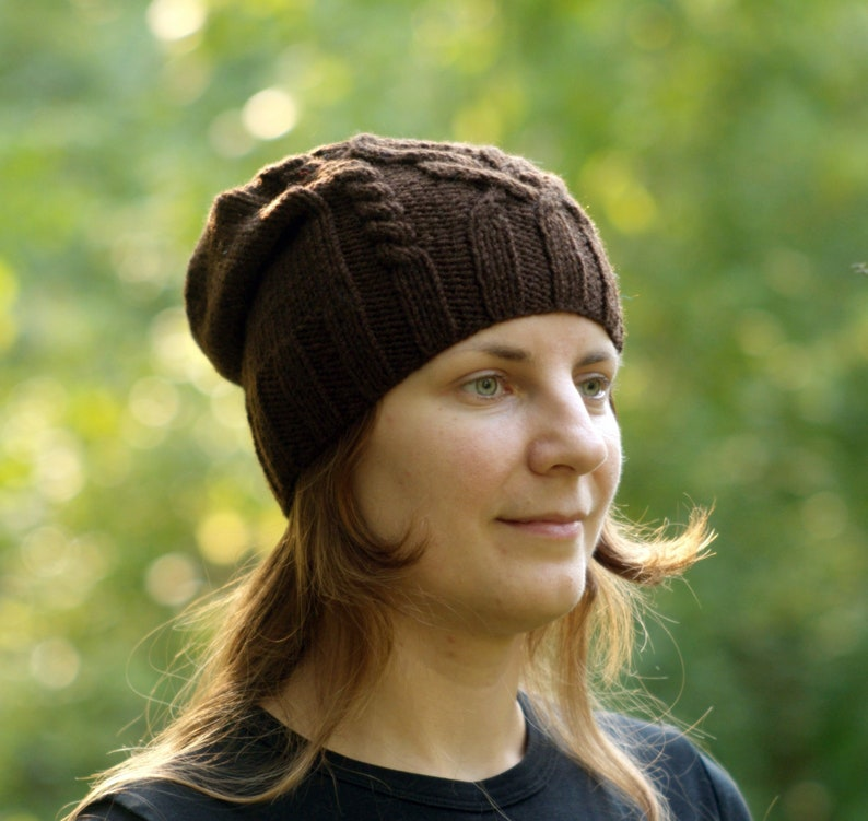 a38129c36e5 Coffee brown hat Slouchy beanie Women cabled hat Chocolate