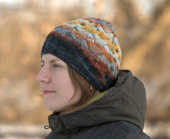 Winter cable hat Women s knit beanie Warm wool hat  78b4f9729f3