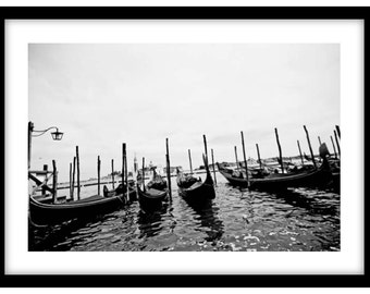 Gondolas on the Waterfront, Venice, Italy.   Photograph is printed in 308gsm Hahnemuhle fine art paper (Unmatted)
