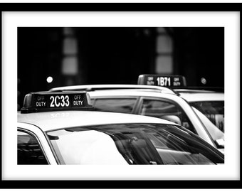 Taxi!  New York  -  Black and White Fine Art Photograph printed on 308gsm Hahnemuhle fine art paper (Unmatted)