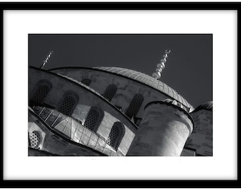 The Blue Mosque, Istanbul. Black and White Fine Art Photograph printed on 308gsm Hahnemuhle fine art paper (Unmatted)