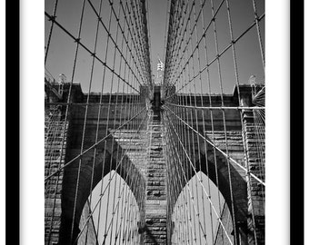 Brooklyn Bridge, New York -  Black and White Fine Art Photograph printed on 308gsm Hahnemuhle fine art paper (Unmatted)