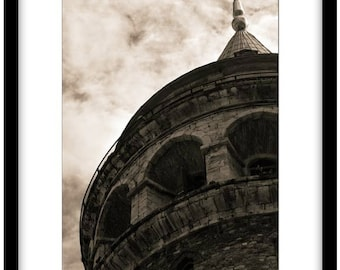 The Galata Tower, Istanbul. Black and White Fine Art Photograph printed on 308gsm Hahnemuhle fine art paper (Unmatted)