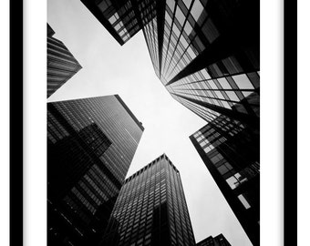 Looking up in New York -  Black and White Fine Art Photograph printed on 308gsm Hahnemuhle fine art paper (Unmatted)
