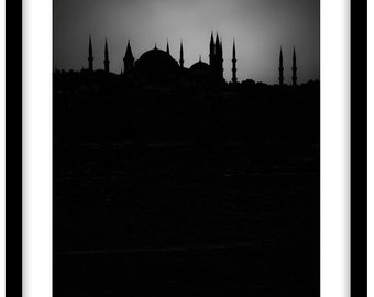 The Blue Mosque at Sun Set,  Istanbul. Black and White Fine Art Photograph printed on 308gsm Hahnemuhle fine art paper (Unmatted)