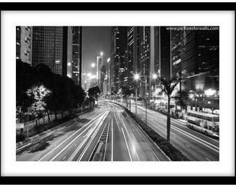 Wan Chai, Hong Kong at Night.  Photograph is printed in 308gsm Hahnemuhle fine art paper (Unmatted)
