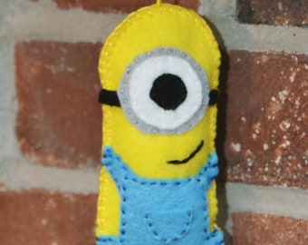 One-Eyed Minion Felt Ornament Yellow with Blue Overalls