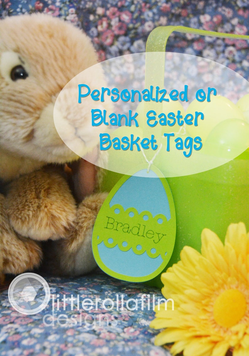 Personalized Easter Basket Tag  Happy Easter Choose Your Own image 0