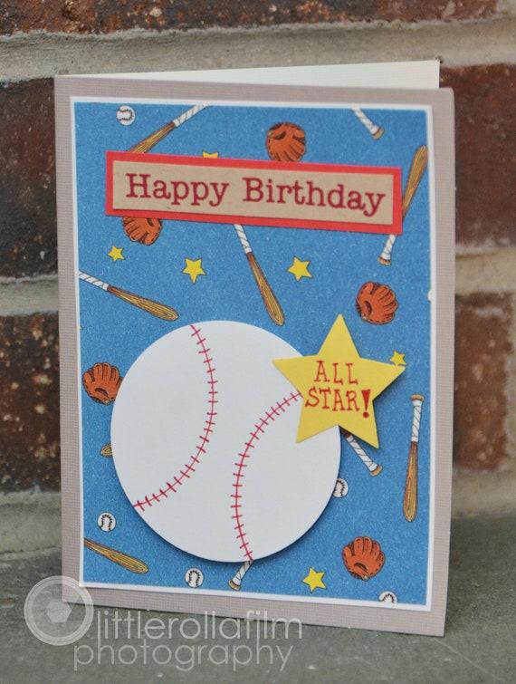 Birthday Greeting Card All Star Baseball Birthday Card For Him Birthday Card For Boys Baseball Birthday Card