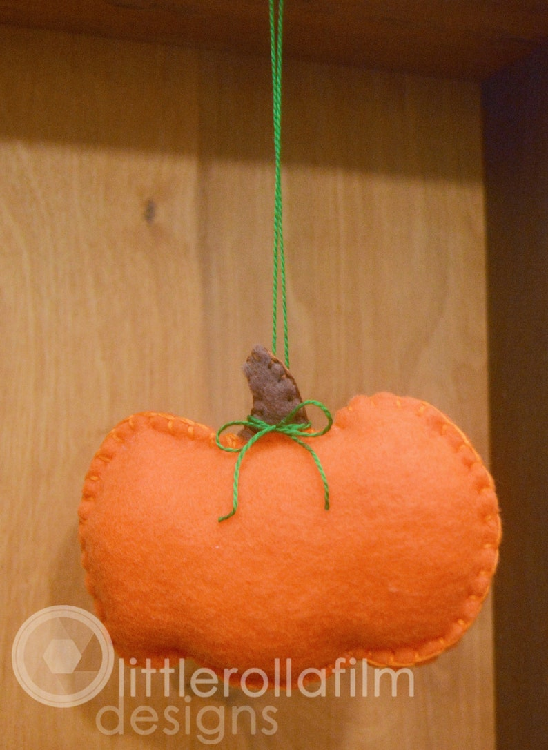 Felt Pumpkin Ornament Gift for Her Gift for Him Fall Home image 0