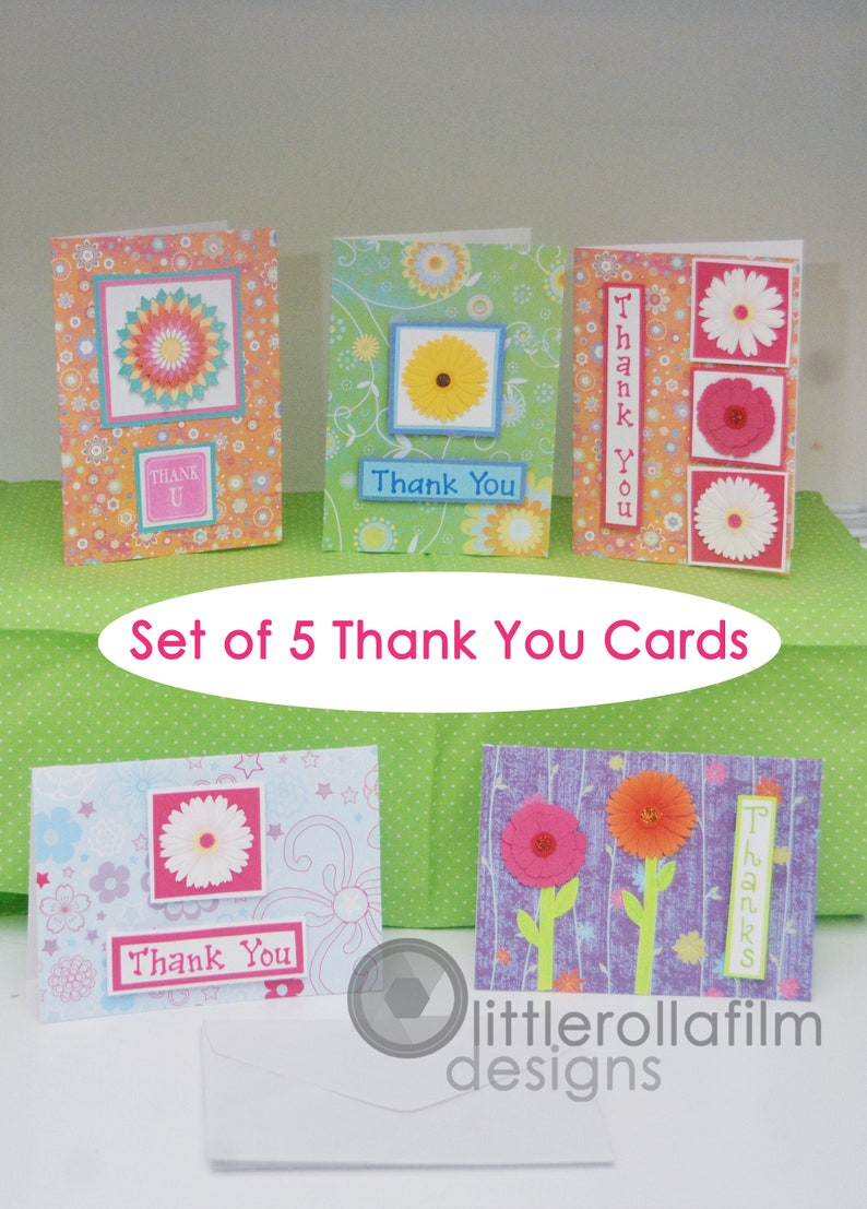 Thank You Card for Her Thank You Card for Child Package of Cards Thank You Greeting Card Set of 5 Bright /& Colorful Glitter Floral