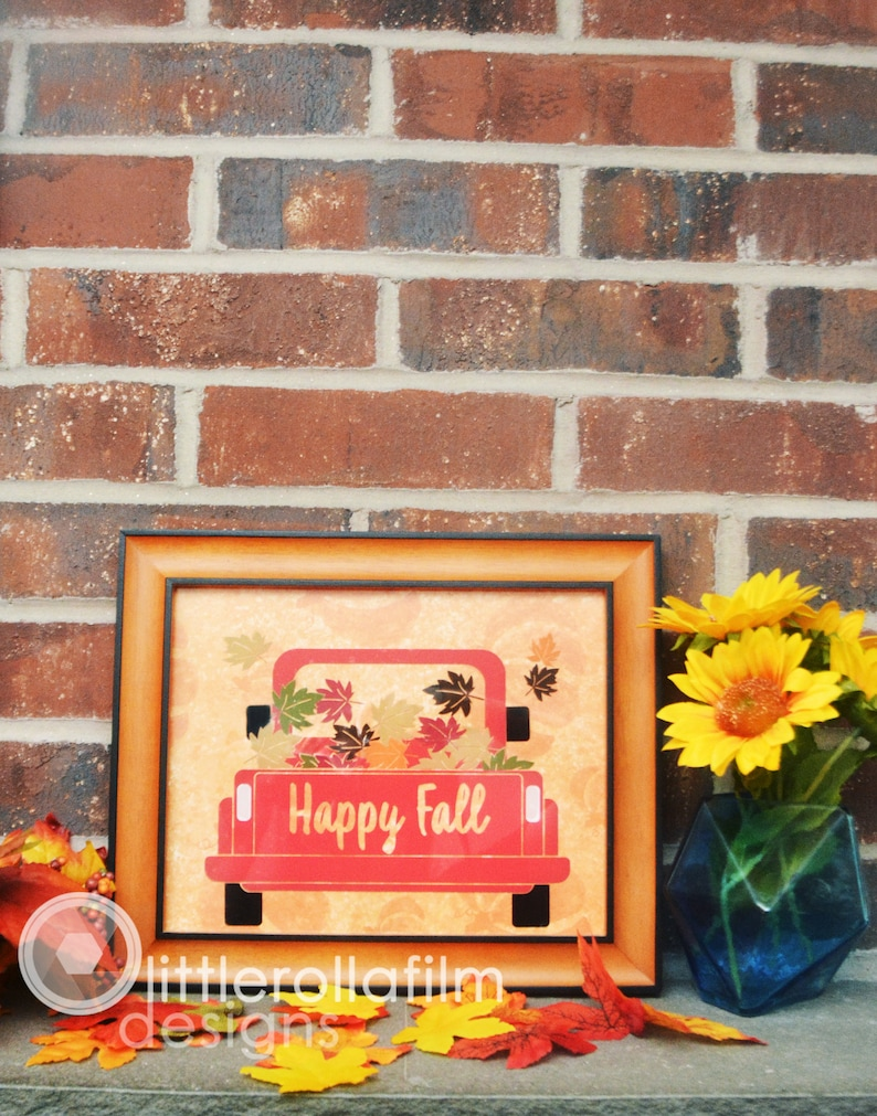 Happy Fall Truck Framed Decor  Autumn Decor Red Truck Decor image 0