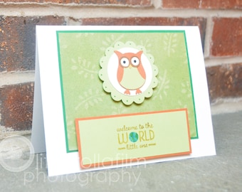 Neutral Green Owl Welcome Baby Greeting Card