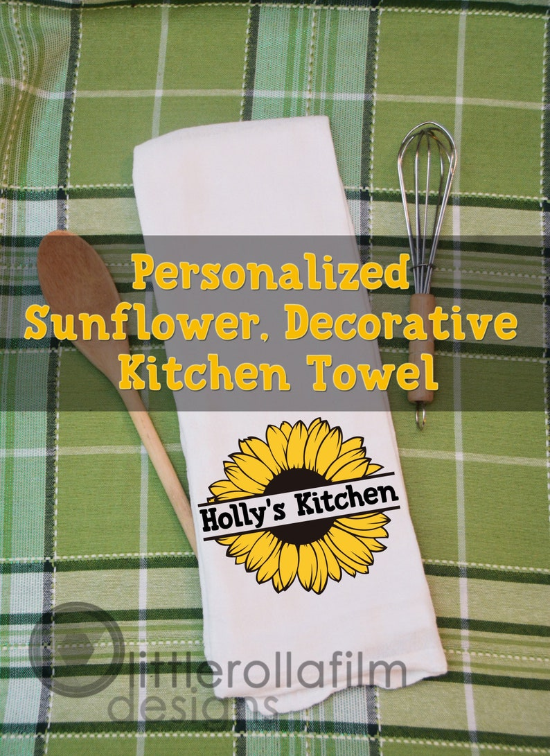 Kitchen Towel Personalized Sunflower Towel Gift for Her image 0