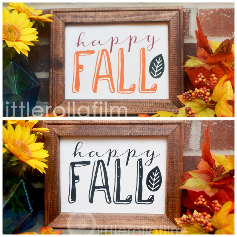 Canvas Sign Happy Fall Sign Reverse Canvas Gift for Her image 0