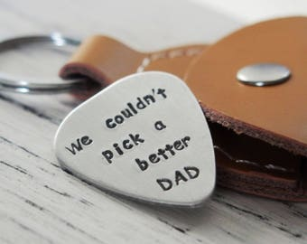 Step father's day Gift, gifts for stepdad, gift for step father, silver guitar pick with case, real leather, gifts for dad, gifts for father
