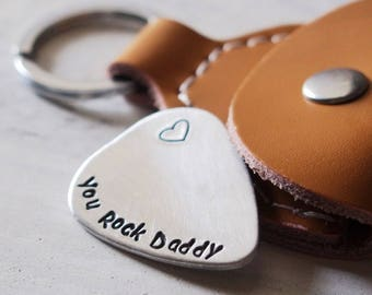 Father guitar pick for him, Personalized mens, You Rock Daddy, gift for dad, husband gift, boyfriend gift, Personalized father gift for men