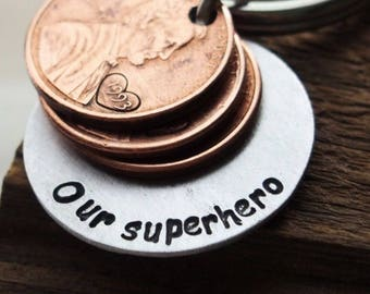 Super hero father's day gift, Daddy to be fathers day gifts, father's day gift for father, Our Superhero, lucky dad gift, penny key chain