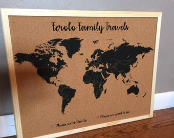 Corkboard etsy customized world map corkboard gumiabroncs