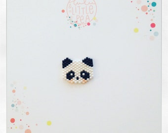 pins panda tissée en perles miyuki delica- ambiance noir et blanc -  tissage peyote