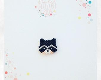 Pine raccoon miyuki delica - black and white atmosphere - peyote stitch beadwoven