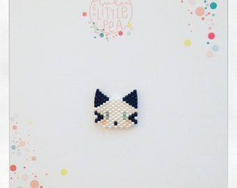 Pine cat miyuki delica - black and white atmosphere - peyote stitch beadwoven
