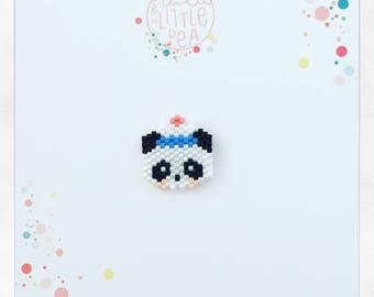 Pine Navy panda miyuki delica-marine atmosphere - peyote stitch beadwoven