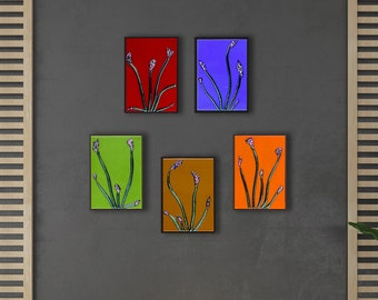 Fused Glass Floral Wall Art Set of 5 - Made to Order