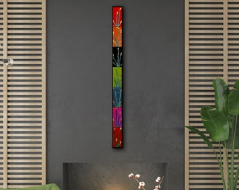 5 FT Tall Wall Art. Home Decor. Floral Wall Art. Long Wall Decor. Vertical Wall Panel. Fused Glass Art. Nature Home Decor. Tall Floral Decor